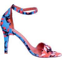 Sandália Em Tecido Floral Salto Fino Mahasa Feminina - Feminino-Azul