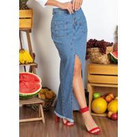 Saia Longa Jeans Com Botões E Fenda Sawary