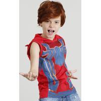 Regata Infantil Homem Aranha Com Capuz Máscara Vermelha