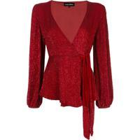 Retrofete Blusa Com Bordado De Paetês - Vermelho