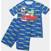Pijama Infantil Kyly Carro Brilha No Escuro Masculino - Masculino-Azul