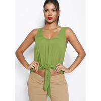 Blusa Lisa Com Amarraã§Ã£O - Verde - Sommersommer