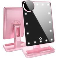 Espelho Para Maquiagem Gbmax Grande 20 Leds Dc103 Com Super Lente De Aumento Rosa