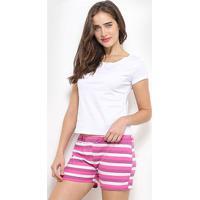 Conjunto Pijama Flora Zuu Curto Listrado Feminino - Feminino-Rosa