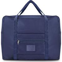 Bolsa De Viagem Dobrável- Azul Marinho & Bege Claro-Jacki Design