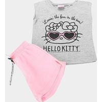 Conjunto Infantil Hello Kitty Blusa Meia Malha E Short Moletom Feminino - Feminino-Mescla