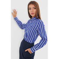 Camisa Polo Ralph Lauren Reta Classic Listrada Azul