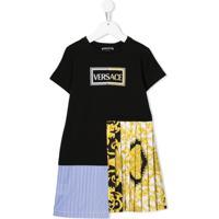 Young Versace Vestido Com Logo Contrastante - Preto