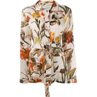 Off-White Camisa Estilo Pijama Com Estampa Floral - Neutro