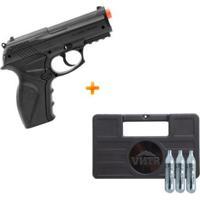 Kit Pistola De Airsoft A Gás Co2 C11 Wingun 492 Fps + Maleta + 3 Cilindros De Co2 - Unissex
