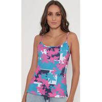 Blusa Floral- Rosa & Azul Claro- Lança Perfumelança Perfume