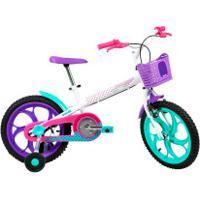 Bicicleta Caloi Ceci - Aro 16 - Freios Cantilever - Feminina - Infantil - Branco/Roxo