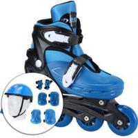 Kit Patins Bel Sports Radical Rollers: Patins Ajustável + Kit De Proteção - Infantil - Azul/Preto