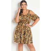 8834ca18a Posthaus; Vestido Ciganinha Plus Size Onça Com Alças