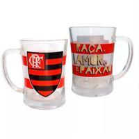 Canecão De Vidro Flamengo - Unissex-Branco