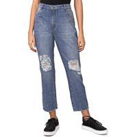Calã§A Jeans Enfim Boyfriend Aplicaã§Ãµes Azul - Azul - Feminino - Algodã£O - Dafiti