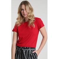 Blusa Feminina Básica Com Botões Manga Curta Decote Redondo Vermelha