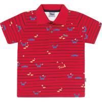 Camisa Polo Trick Gola Estampa De Carangueijo Vermelho