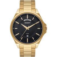 Relógio Orient Masculino Mgss2011 P1Kx Pulseira E Caixa Aço Dourado Mostrador Preto