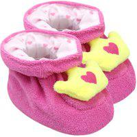 Pantufa Bebê Feminino Plush Atoalhado Pink Coroa (Rn) - Pimpolho - Tamanho Rn - Pink