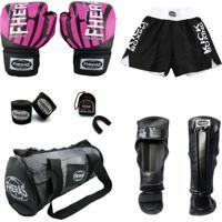 Kit Boxe Muay Thai Fheras Top - Luva Bandagem + Bucal Caneleira Shorts + Bolsa - 14 Oz