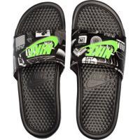 Chinelo Nike Benassi Jdi Print - Slide - Masculino - Preto/Verde Cla