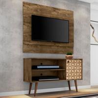 Rack Com Painel Para Tv Até 42 Polegadas Jade Madeira Rústica/Madeira 3D - Bechara Móveis