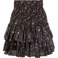 Isabel Marant Étoile Floral-Print Ruffled Miniskirt - Marrom