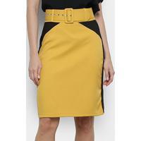 Saia Heli Reta Bicolor Cinto - Feminino-Amarelo+Preto