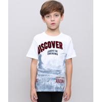 "Camiseta Infantil Com Estampa Flocada ""Discover"" Manga Curta Branca"