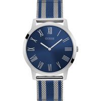 Relógio Guess Masculino Aço Prateado E Azul - W1179G1