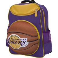 Mochila Nba Los Angeles Lakers 3D Bola - Infantil - Roxo/Amarelo