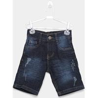Bermuda Jeans Infantil Mox Destroyed Masculina - Masculino-Azul