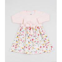 Vestido Infantil Floral Com Laço Manga Longa Rosa Claro
