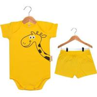 Conjunto Bebê Nigambi Girafinha Unissex - Unissex-Amarelo