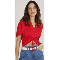 Blusa Feminina Cropped Com Amarração Manga Curta Decote V Vermelha