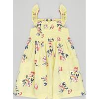 Vestido Infantil Estampado Floral Com Babado Na Alça Amarelo