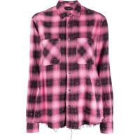 Amiri Camisa Xadrez Com Aplicação - Rosa