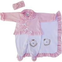 Saída Maternidade Ursinha Poá Rosa Rosa E Branco