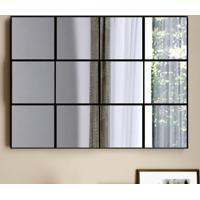 Espelho Quadriculado 3D Tb87 Preto/Espelho - Dalla Costa