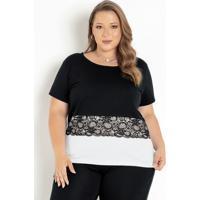 Blusa Preta E Branca Com Renda Plus Size