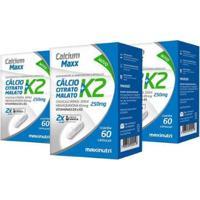 Kit 03 Calcium Maxx Cálcio Citrato Malato K2 60 Cáps Maxinutri - Unissex