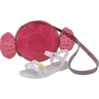 Kit Sandália Barbie + Bolsa Candy Grendene Kids - 22492 Cinza 23/24