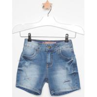 Short Jeans Estonado Com Puídos- Azulcolcci