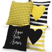 Kit 4 Capas De Almofadas Decorativas Own Aqui Tem Amor 45X45 - Somente Capa
