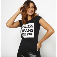 """Blusa Guessâ® """"Jeans Est.1981""""- Preta & Branca- Guessguess"""