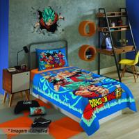 Jogo De Cama Dragon Ballâ® - Solteiro- Azul & Vermelho