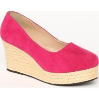 Sapato Plataforma Aveludado Com Corda - Pink & Bege Clarmya Haas