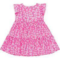 Vestido Infantil Estampado Rosa Flores Animê P Rosa