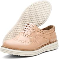 Sapato Oxford Casual Conforto Verniz Nude